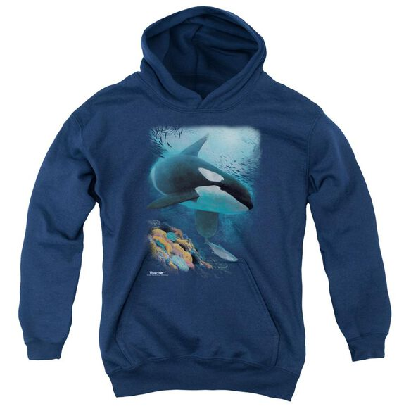 Wildlife Salmon Hunter Orca Youth Pull Over Hoodie