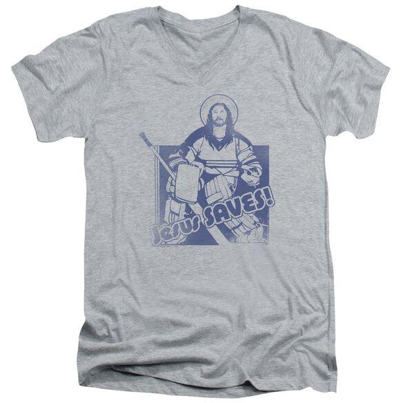 Jesus Saves Short Sleeve Adult V Neck Athletic T-Shirt