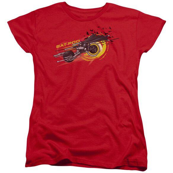 Dark Knight Bat Pod Short Sleeve Womens Tee Red T-Shirt