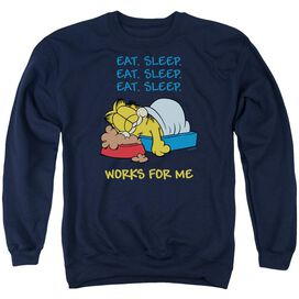 Garfield Works For Me - Adult Crewneck Sweatshirt