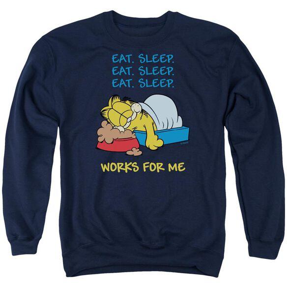 Garfield Works For Me Adult Crewneck Sweatshirt