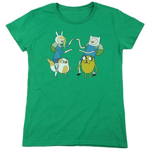 Adventure Time Meet Up Short Sleeve Womens Tee Kelly T-Shirt