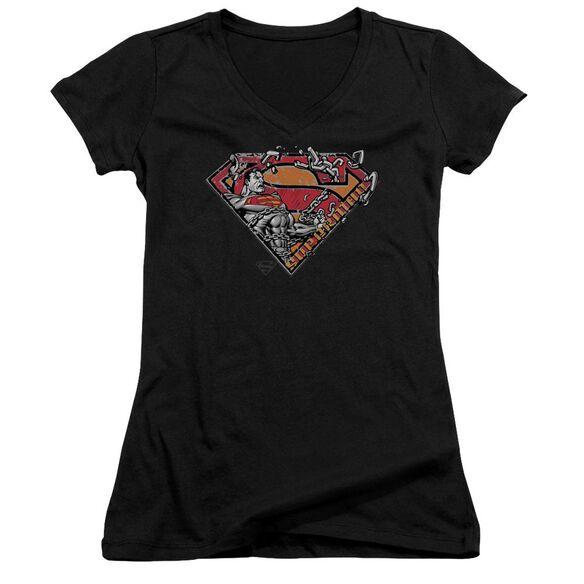 Superman Breaking Chain Logo Junior V Neck T-Shirt