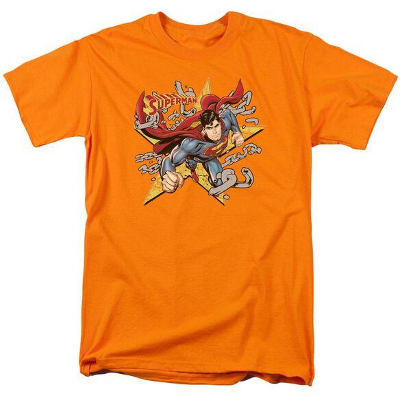 SUPERMAN STARS AND CHAINS - S/S ADULT 18/1 - ORANGE T-Shirt