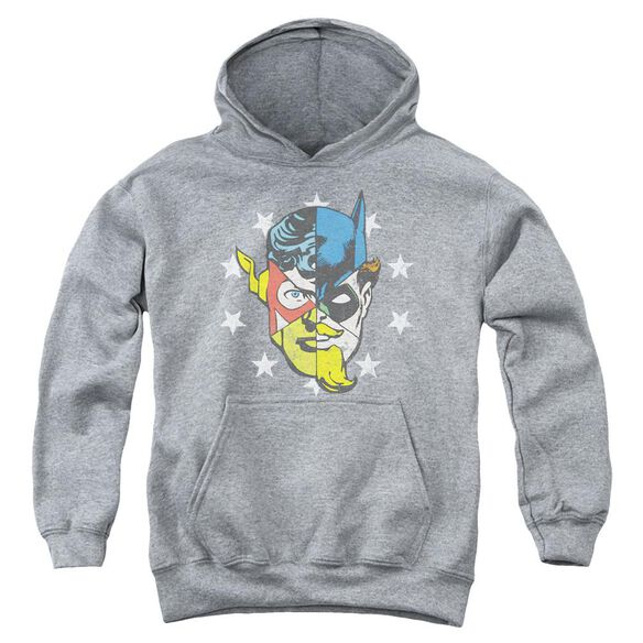 Jla Face Off Youth Pull Over Hoodie