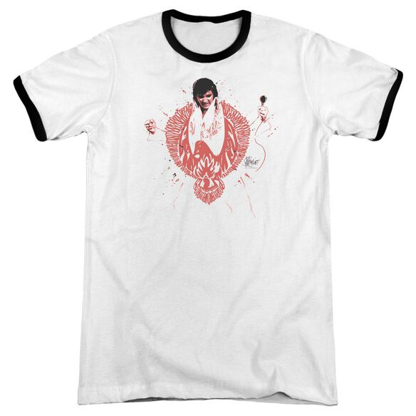 Elvis Red Pheonix Adult Ringer White Black