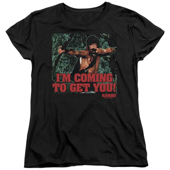 Rambo:First Blood Ii I'm Coming Short Sleeve Women's Tee Black T-Shirt
