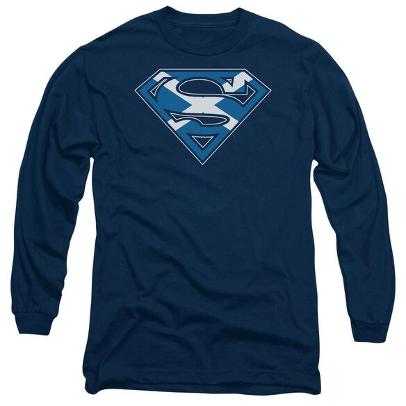 Superman Scottish Shield Long Sleeve Adult T-Shirt