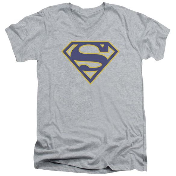 Superman Maize & Blue Shield Short Sleeve Adult V Neck Athletic T-Shirt
