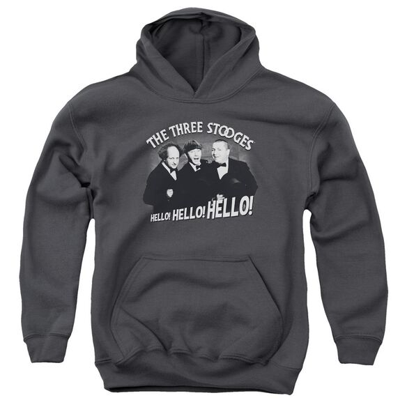 Three Stooges Hello Again Youth Pull Over Hoodie