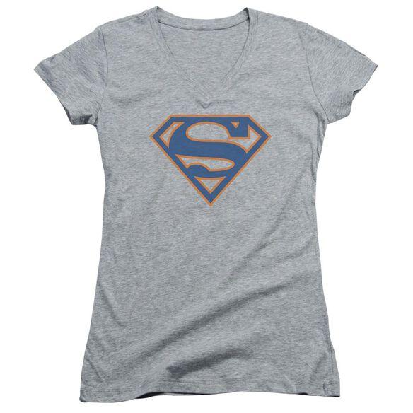Superman Blue & Orange Shield - Junior V-neck - Athletic Heather