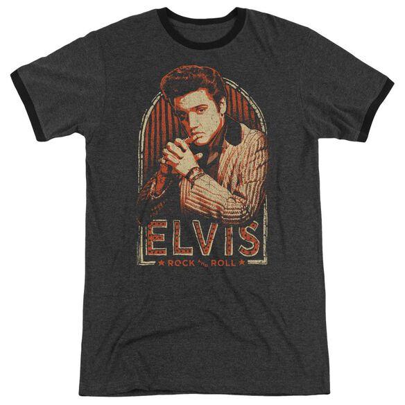 Elvis Stripes Adult Ringer Charcoal