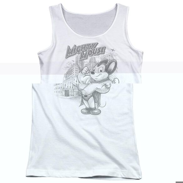 Mighty Mouse Protect And Serve - Juniors Tank Top - White