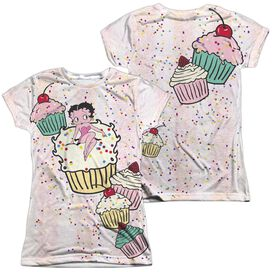 Betty Boop Cake Boop (Front Back Print) Short Sleeve Junior 100% Poly Crew T-Shirt