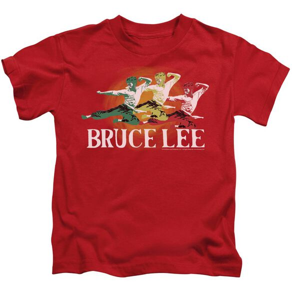 Bruce Lee Tri Color Short Sleeve Juvenile Red T-Shirt