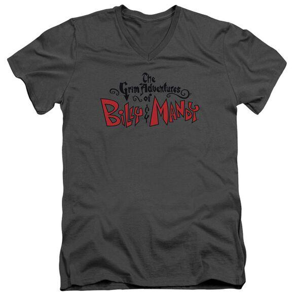 Grim Adventures Of Billy And Mandy Grim Logo Short Sleeve Adult V Neck T-Shirt