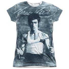Bruce Lee Nunchucks Short Sleeve Junior Poly Crew T-Shirt