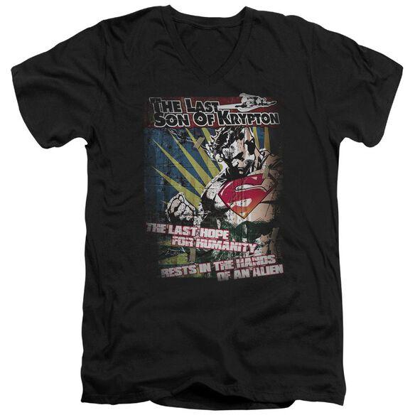 SUPERMAN LAST HOPE - S/S ADULT V-NECK - BLACK T-Shirt