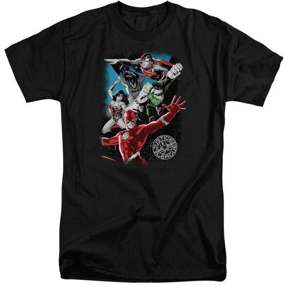 Jla Galactic Attack Short Sleeve Adult Tall T-Shirt