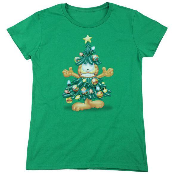 Garfield Tree Short Sleeve Womens Tee Kelly T-Shirt