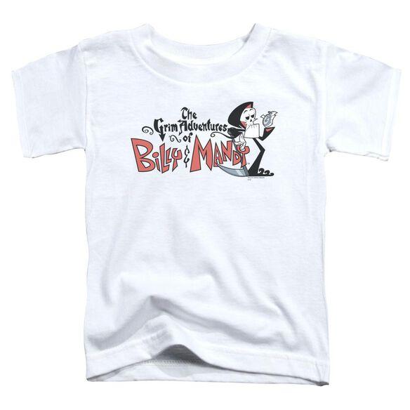 Billy & Mandy Logo Short Sleeve Toddler Tee White T-Shirt