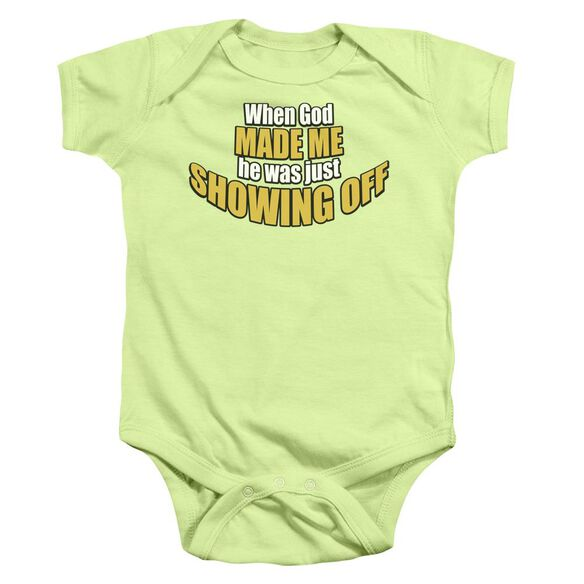 Showing Off Infant Snapsuit Soft Green Md