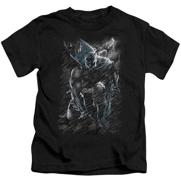 Batman In The Rain Short Sleeve Juvenile Black T-Shirt