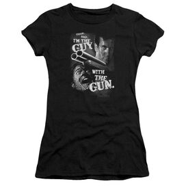 ARMY OF DARKNESS GUY WITH THE GUN - S/S JUNIOR SHEER - BLACK T-Shirt
