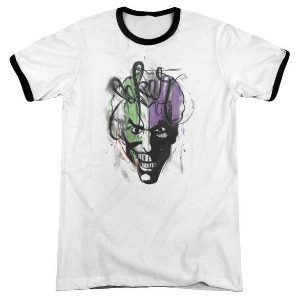 Batman Joker Airbrush Adult Ringer White Black