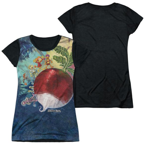 Fraggle Rock Giant Radish Short Sleeve Junior Poly Black Back T-Shirt