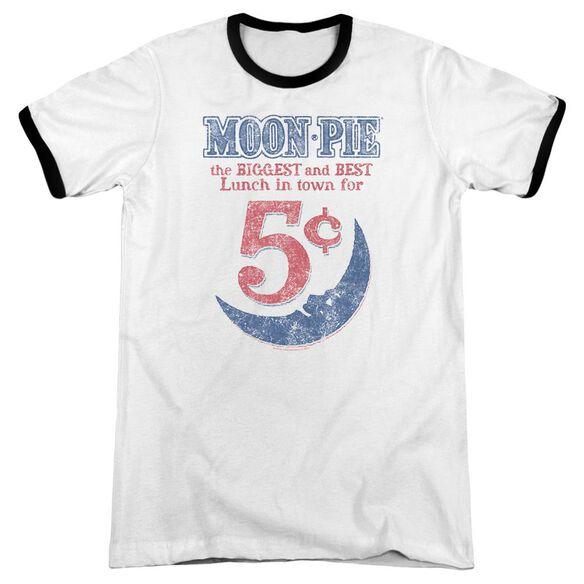 Moon Pie Lunch Munch Adult Ringer White Black