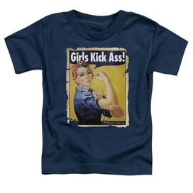 Girls Kick Ass Short Sleeve Toddler Tee Navy Md T-Shirt