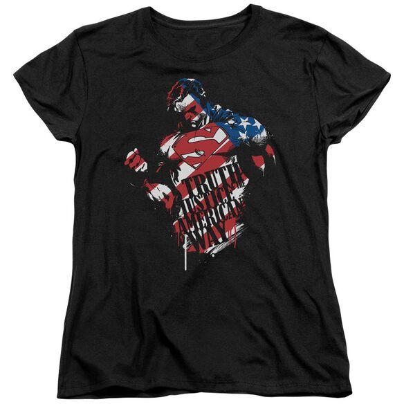 SUPERMAN THE AMERICAN WAY - S/S WOMENS TEE - BLACK T-Shirt