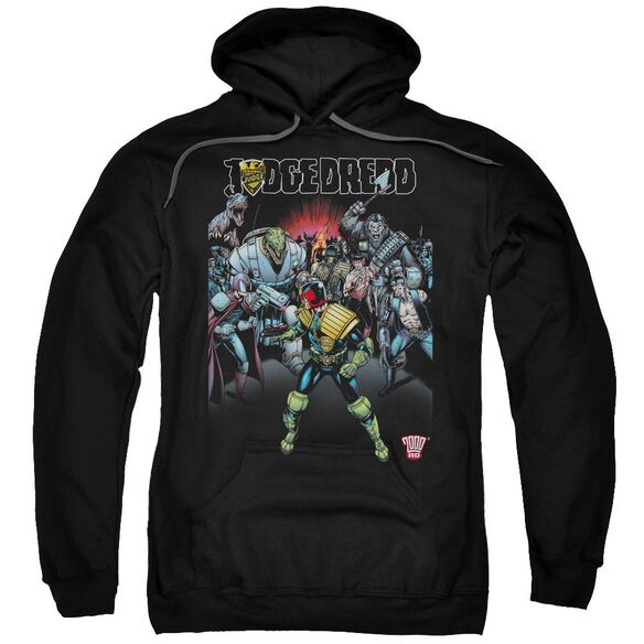 Judge Dredd Behind You Adult Pull Over Hoodie Black