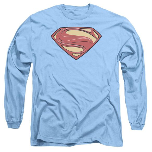 Man Of Steel New Solid Shield Long Sleeve Adult Carolina T-Shirt