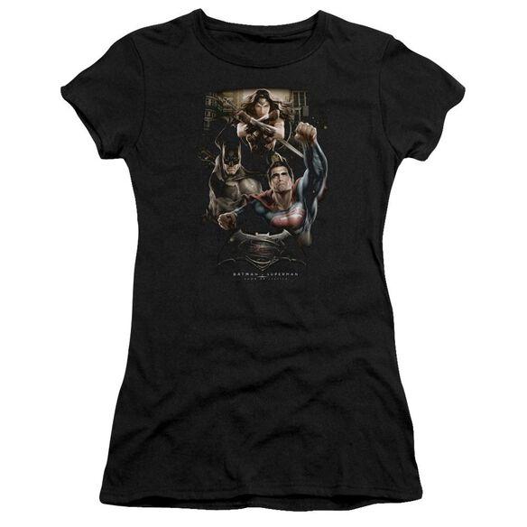 Batman V Superman Three In Action Short Sleeve Junior Sheer T-Shirt