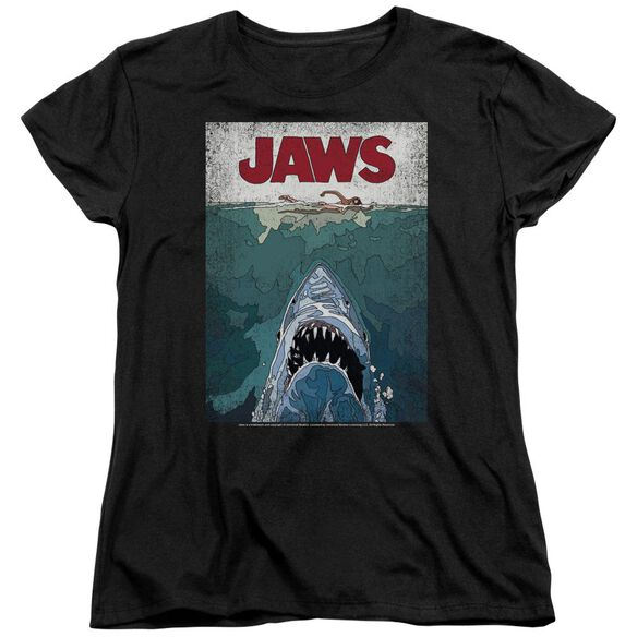 Jaws Lined Poster Short Sleeve Womens Tee T-Shirt