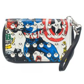 Captain America Studded Wristlet Clutch Wallet