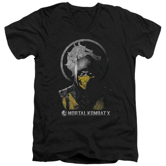 Mortal Kombat X Scorpion Bust Short Sleeve Adult V Neck T-Shirt
