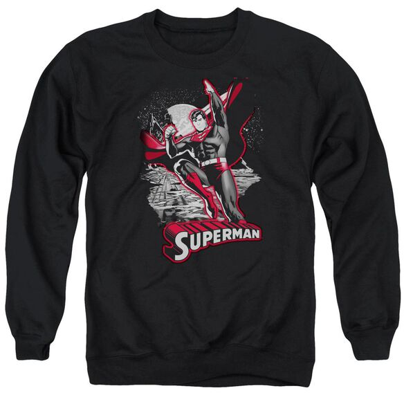 Jla Superman Red &Amp; Gray Adult Crewneck Sweatshirt