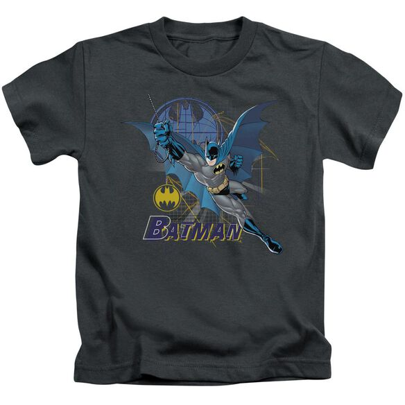 Batman Cape Outstretched Short Sleeve Juvenile Charcoal Md T-Shirt