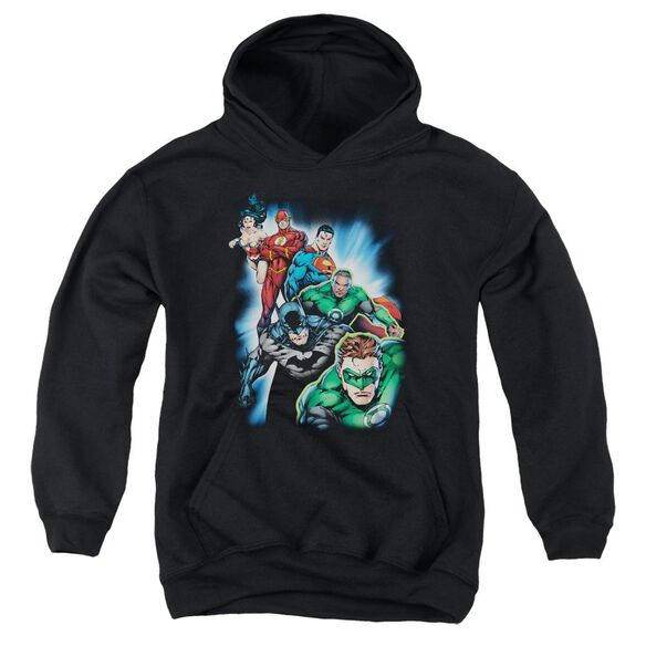 Jla Heroes Unite Youth Pull Over Hoodie