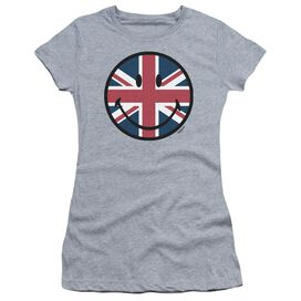 Smiley World Union Jack Face Short Sleeve Junior Sheer Athletic T-Shirt