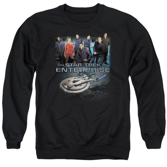 Star Trek Enterprise Crew - Adult Crewneck Sweatshirt - Black