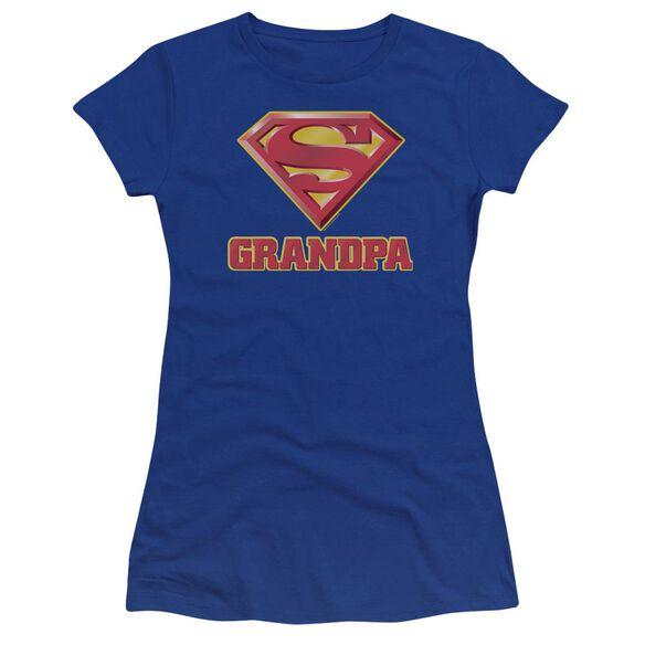 Superman Super Grandpa Premium Bella Junior Sheer Jersey Royal