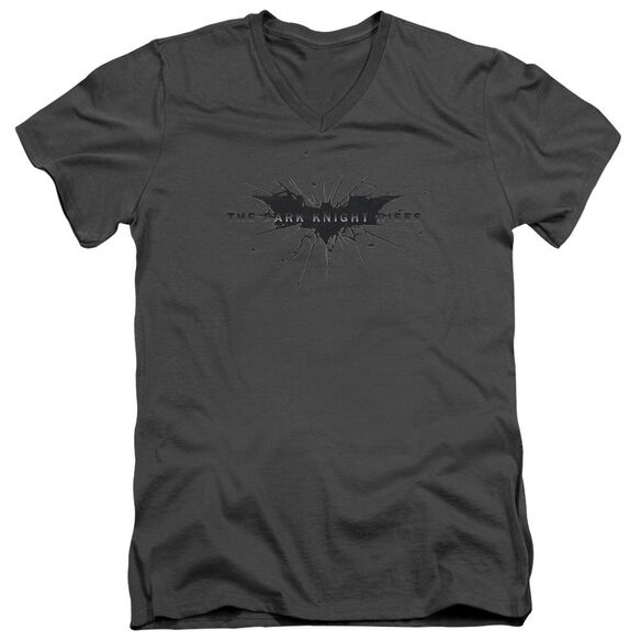 Dark Knight Rises Scratched Logo Short Sleeve Adult V Neck T-Shirt