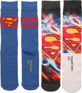 Superman Dye and Knit Logo 2 Pack Crew Socks Set