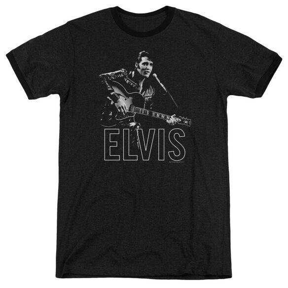 Elvis Presley Guitar In Hand - Adult Heather Ringer - Black