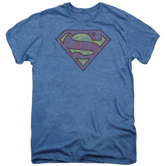 Superman Tattered Shield Short Sleeve Adult Premium Tee Deep Sea T-Shirt