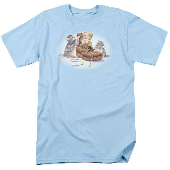 Wildlife Playful Kittens Short Sleeve Adult Light Blue T-Shirt